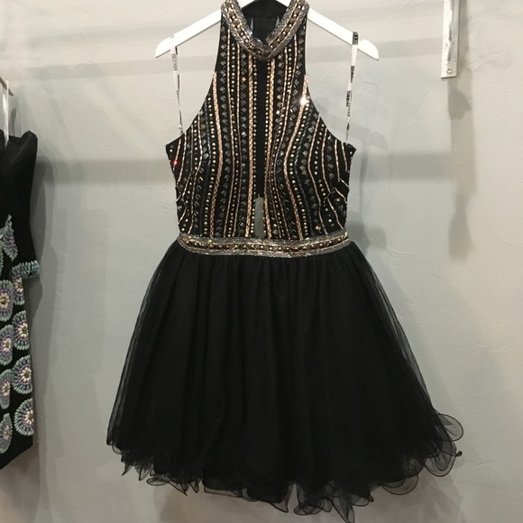 Blush Dresses Black Short Plus Size Formal Prom Dress Designer
